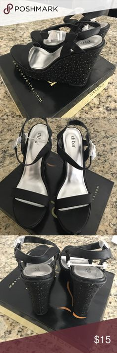 Diba Shoes Black Wedges These shoes are BRAND NEW size 11 Diba Shoes! These shoes have a silver backdrop which shoes through the black cut outs! Super cute! Diba Shoes Wedges