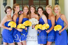 Wedding colors of Blue and Yellow.  Perfect for a spring wedding at the Interlachen Country Club