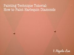Painting Technique Tutorial: How to Paint Harlequin Diamonds.  Pink and silver diamond treatment in closet at 11 Magnolia Lane.