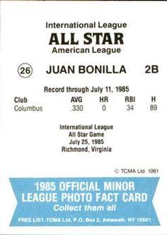 1985 TCMA International League All-Stars #26 Juan Bonilla Back