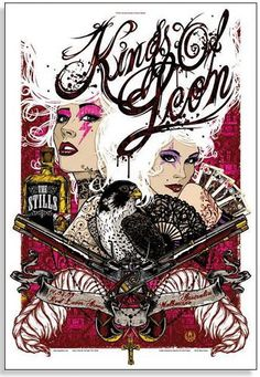 The Kings of Leon Concert Poster  at Rod Laver Arena- Melbourne, Australia  Mar 14, 2009  printed on nice heavy paper stock  poster measures 18.25 inches x 26.75 inches   limited edition  artist:  Rhys Cooper