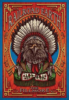 """Original concert poster for Railroad Earth at The Fillmore in San Francisco, CA. 13""""x19"""" on card stock. Art by Derek Studebaker Johnson. F1010."""
