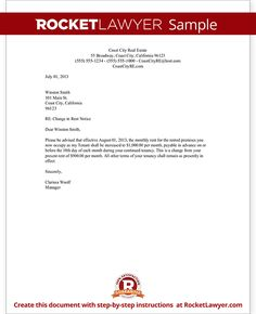 rent increase letter with sample notice of rent increase raise rent letter