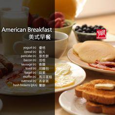 Studio Classroom 空中英語教室教育集團 Waffles, Pancakes, American Breakfast, Learn English, Bagel, Vocabulary, Yogurt, Sausage, Oatmeal