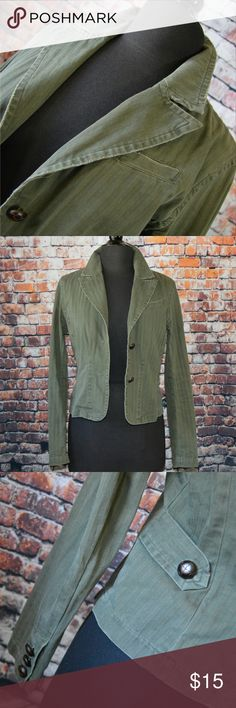 Sage Military Style Jacket Another year round essential to complete your wardrobe. Two button closure in front, three buttons on each sleeve, distressed 100% cotton fabric has a striped pattern for added aesthetic. Finally, inside seams are finished in contrasting floral trim. EUC  Make the most out of your shipping charge by Bundling! Add a scarf, a pair of earrings or a hat to maximize your dollar! Save 10% on all bundles of two or more! Offers on Bundles are also welcome! SO Jackets…