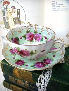 Radiant Orchid and Pale Green Tea Cup and by ProvencalMarket, $20.00  If you know the maker of this cup, please post.