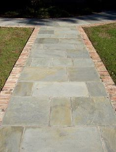 Stone walkway, with reclaimed brick border Concrete Path, Outdoor Walkway, Brick Walkway, Front Walkway, Front Steps, Backyard Patio, Walkway Ideas, Driveway Paving, Walkway Lights