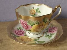 Antique gold tea cup and saucer set Queen Anne by ShoponSherman, $79.00
