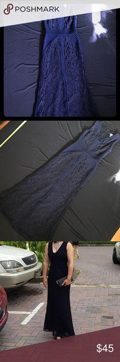 "🌎Lace Maxi Dress Navy Blue Color.  Fair Condition. Approximately 50"" long,  waist 13"" , chest 15"", shoulder 13"". Betsy & Adam Dresses Maxi"