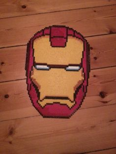 Iron Man mask perler beads by Phillip Mark