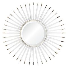 """A contemporary take on the vintage classic, this mirror features an acrylic sunburst with nickel detailing and a silvered mirror finish. - Dimensions: 34""""Dia - Materials: Acrylic; Wood; Metal; Mirror"""