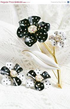 ON SALE Vintage AVON black and white polka by PuddinRidgeCreations