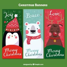 Pack of three colorful banners with christmas characters Free Vector