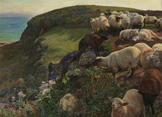 pre raphaelite paintings - Our English Coasts, 1852 ('Strayed Sheep') 1852 by William Holman Hunt 1827-1910