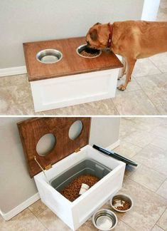 Top 27 DIY Ideas How to Make a Perfect Living Space for Pets DIY Dog Food Station with Storage underneath. Top 27 DIY Ideas How to Make a Perfect Living Space for Pets DIY Dog Food Station with Storage underneath. Dog Feeding Station, Dog Station, Diy Home Decor For Apartments, Apartment Ideas, Diy Home Decor On A Budget, Bedroom Apartment, House Ideas On A Budget, Small Apartment Hacks, Dog Bedroom