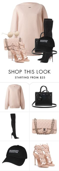 """""""Untitled #3647"""" by xirix ❤ liked on Polyvore featuring Off-White, Yves Saint Laurent, Le Silla, Chanel, Giuseppe Zanotti and Linda Farrow"""