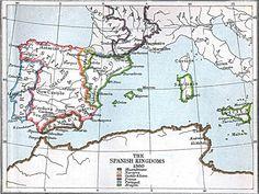 Corona de Castilla, Corona de Aragón, Reinos de Portugal, Navarra y Granada (1360)