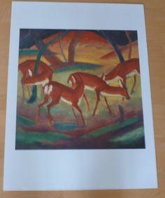Franz Marc * Rote Rehe * Poster Kunstdruck 1996 * 80 x 60 cm