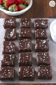 Fudgy Flourless Brownies with Sea Salt Ganache Recipe