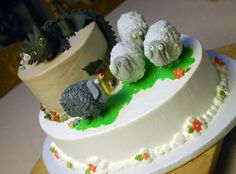 How To Train Your Dragon 2 Movie Cake ~ with Toothless the Dragon and the Black & White sheep from the Dragon Races ~ Top Tier Wedding Cakes, Medford, Oregon