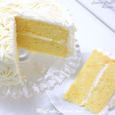 The BEST Lemon Cake Recipe from Scratch by MyCakeSchool.com! Amazing with Lemon Curd Filling and Lemon Cream Cheese Frosting! MyCakeSchool.com.