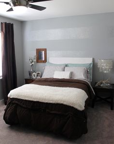 """Going to do this Tone on Tone Striped Accent Wall in """"Silver Service"""" in my bed room next day off!!!"""