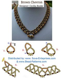Brown Chevron! Free Necklace Pattern! for marbled rondelles that are black, white & plum colors