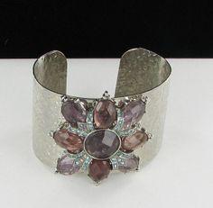 Open Back Silver tone Bracelet Purple Green by vintagejewelrylane, $19.99