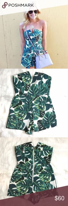 HOST PICKTOPSHOP Palm Tree Leaves Romper NWT. Super cute and stylish Topshop PETITE Dresses