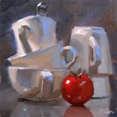 Dramatic Stacks, painting by artist Carol Marine Painting Still Life, Still Life Art, Painting Lessons, Art Lessons, Abstract Art Images, Daily Painters, High Art, Beautiful Paintings, Art Oil