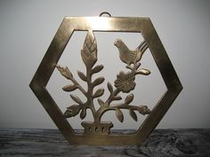 Vintage Solid Brass Bird and Flower Design by DianesStuffForYou, $14.00
