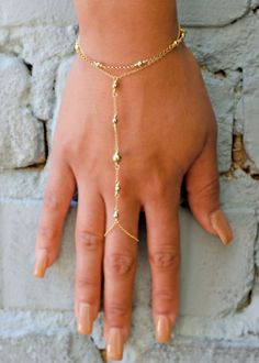 Gold Hand Chain Hand Jewelry Slave Bracelet Boho Finger