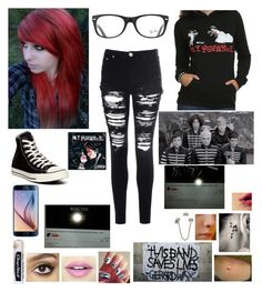 """""""<3 My Chemical Romance <3"""" by haileym5sos ❤ liked on Polyvore featuring Chapstick, Charlotte Tilbury, Fiebiger, Converse, Music Notes, Ray-Ban and Glamorous"""