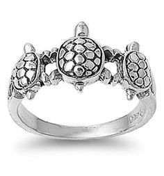 Rhodium Plated Sterling Silver Wedding & Engagement Ring Turtle Ring 10MM ( Size 5 to 9) Double Accent. $21.99