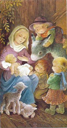 Constanza Christmas Nativity, Christmas Baby, Christmas Holidays, Clipart Noel, Holly Hobbie, Holy Night, Christmas Illustration, Blessed Mother, Vintage Christmas Cards
