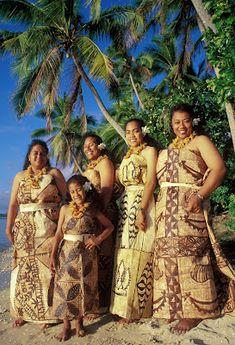 "Tonga - ladies dressed in tapa cloth. (The English Word ""tapa"" is originally Tongan"")"