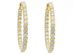 2.49 carats Inside Out Hoop Earrings with Round Diamonds Set in 18k Yellow Gold