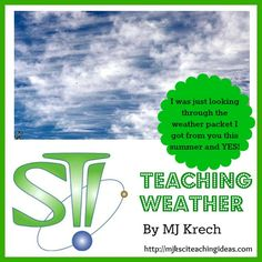 Teaching Weather by MJ Krech Awesome site to teach weather and climate! Mad Science, Science Lessons, Teaching Science, Science Education, Science For Kids, Science Ideas, Weather Unit, Weather And Climate, 7th Grade Science