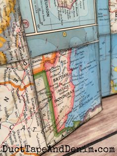 This world map art collage is an easy to make home deco DIY project. Great idea for using up old maps. Map Collage, Collage Ideas, Map Crafts, World Map Art, Vintage Maps, Antique Maps, Map Globe, Old Pallets, Old Maps