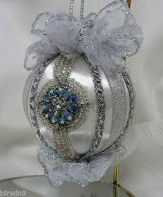 Silver Christmas Tree Ornament Handmade w/Ribbons, Bows & Rhinestone Center | eBay