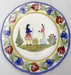 "Vintage HB Henriot Quimper France Tradition Man Woman Couple 10"" Plate 