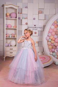 Pink and Grey Tulle Flower Girl Dress by KingdomBoutiqueUA