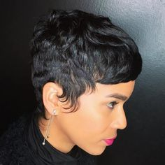 Short Side Bang Slightly Curly Pixie Human Hair Wig Short Pixie Haircuts, Cute Hairstyles For Short Hair, Short Hair Cuts, Curly Hair Styles, Natural Hair Styles, Black Hairstyles, Short Curly Pixie, Black Pixie Haircut, Super Short Pixie Cuts