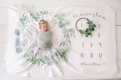 Baby Milestone Blanket- Eucalyptus Leaf Wreath - Personalized Baby Blanket - Blanket to grow with - New Mom Baby Shower Gift -Gift for Child Custom Baby Gifts, Personalized Baby Gifts, Baby Milestone Blanket, Soft Blankets, Baby Milestones, Leaf Design, Mom And Baby, New Moms, Little Ones