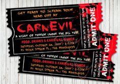 Halloween CarnEvil / Carnival Invitation by AmyBeeCreations Scary Carnival, Scary Circus, Carnival Signs, Haunted Carnival, Carnival Invitations, Carnival Themes, Scary Clowns, Freak Show Halloween, Halloween Circus