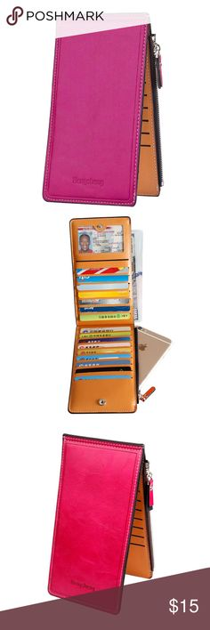 """Womens Thin Multi Card Case Organizer Wallet Zipper closure  Total 17 card slots, 1 open pocket for cash and 1 zippered compartment for bill, cash or a small cellphone of iPhone 6/6S/7 or Samsung Galaxy S6  Material: Wax PU Leather  Dimensions: 7.5"""" x 3.9"""" x 0.6""""  Clear layout and bi-fold design is made for you to keep your cards, cash or mobile phone oraganized well and easily to use. Bags Wallets"""