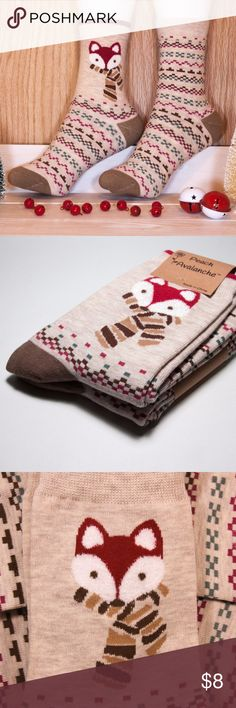 NWT 2 Pairs High Quality Women's Fox Crew Socks For women shoe sizes 4-9.  High quality, unique, & really cute.  77% Cotton, 21% Polyester, 2% Spandex.  They make great gifts too! Peach Avalanche Accessories Hosiery & Socks