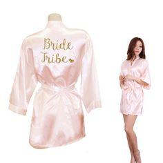 979790b1fa Women Kimono Robes Faux Silk Bride Bride Tribe Heart Golden Glitter