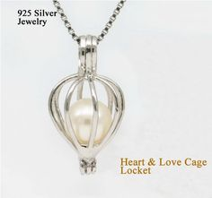 925 Silver Heart & Love Pearl Bead Cage /Pendant, Sterling Silver Locket for Jewelry, Bracelet /Necklace $4.95