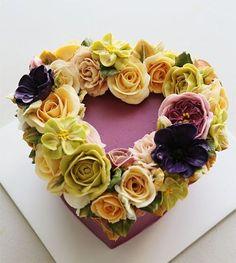 Wreath style buttercream flower cake.... #cherryblossom #buttercream…